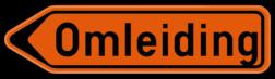 Verkeersbord F41: Bewegwijzeringsbord voor de aanduiding van een omleidingsweg. Verkeersbord SB250 F41 - Wegwijzer omleidingsweg Links F41