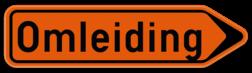 Verkeersbord F41: Bewegwijzeringsbord voor de aanduiding van een omleidingsweg. Verkeersbord SB250 F41 - Wegwijzer omleidingsweg Rechts F41