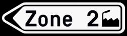 Verkeersbord F33a: Bewegwijzeringsbord op afstand: luchthaven, universitair centrum, kliniek en ziekenhuis, beurs- of tentoonstellingshal, haven, wijk, ring, bedrijf, industriepark en commercieel centrum. Verkeersbord SB250 F33a - Bewegwijzeringsbord op afstand Links F33a