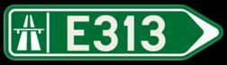 Verkeersbord F31: Bewegwijzeringsbord voor de aanduiding van een autostrade. Verkeersbord SB250 F31 - Wegwijzer autostrade Rechts F31