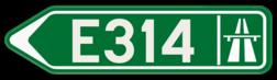 Verkeersbord F31: Bewegwijzeringsbord voor de aanduiding van een autostrade. Verkeersbord SB250 F31 - Wegwijzer autostrade Links F31