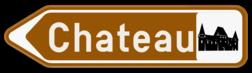 Verkeersbord F33c: Bewegwijzeringsbord op afstand: sportcentrum, plaats met een toeristisch of ontspannend karakter, recreatie- of pretpark, cultureel park, monument, merkwaardig landschap. Het verkeersbord mag aangevuld worden met de symbolen van het type S. 30. tot S. 36. Verkeersbord SB250 F33c - Bewegwijzeringsbord op afstand Links F33c