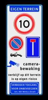 Verkeersborden Eigen Terrein met diverse symbolen & teksten Wit / blauwe rand, (RAL 5017 - blauw), EIGEN TERREIN (banner), A01-010, E04, parkeren alleen, voor bewoners,   Verboden toegang