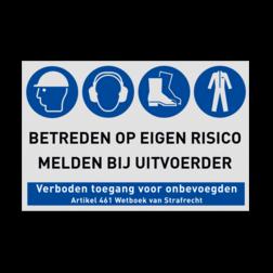 PBM bord voor Bouwplaats met Veiligheidsinstructies bouwplaats, bord, werkplaats, magazijn, melden bij uitvoerder, veiligheid, pbm