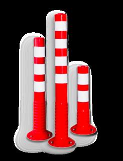 ComeBack rubber afzetpaal Ø80mm rood / wit reflex flexibel, afzetpaal, beschermpaal, kunststof, comeback, overrijdbaar, veerpaal
