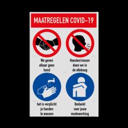 Bord maatregelen en omgangsregels COVID-19 Coronavirus veiligheidsbord, gebod, geboden, instructies, lezen, terrein, betreden, nen, iso, normen, verplicht, wetgeving, symbool, pictogram,