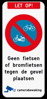 Product Parkeerverbod voor fietsen en bromfietsen - eigen tekst - camerabewaking Let op - E1 fiets - eigen tekst - camerabewaking