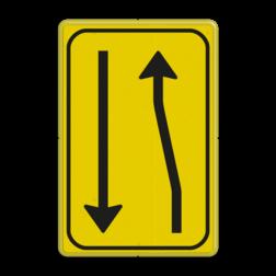 Verkeersbord T03-2l geel/zwart Tekstbord, WIU bord, tijdelijke verkeersmaatregelen, werk langs de weg, omleidingsborden, tijdelijk bord, werk in uitvoering, 3 regelig bord