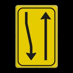 Verkeersbord T02-2r geel/zwart Tekstbord, WIU bord, tijdelijke verkeersmaatregelen, werk langs de weg, omleidingsborden, tijdelijk bord, werk in uitvoering, 3 regelig bord