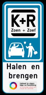 Parkeerbord Parkeerbord Kiss&Ride - Halen en brengen - Jouw eigen logo van je school. Parkeerbord Kiss&Ride - Halen en brengen - Eigen logo