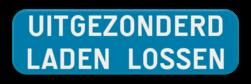 Verkeersbord GIV: Dit verkeersbord duid een beperking van een verbod of van een gebod voor zekere categorieën van voertuigen. Bv. uitgezonderd fietsers, uitgezonderd -5t, uitgezonderd plaatselijk verkeer,... Verkeersbord SB250 G type IV - Uitgezonderd laden en lossen