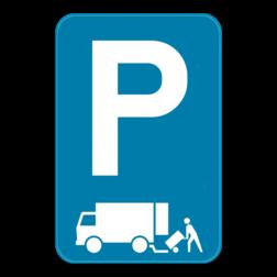 Parkeerbord Parkeerbord E9 aangevuld met het symbool laden en lossen Parkeerbord E9 laden en losen