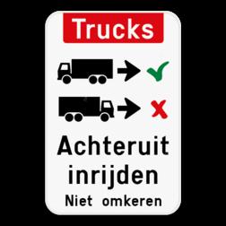 Informatiebord Vrachtwagens achteruit inrijden of inparkeren. Informatiebord - Trucks achteruit inrijden