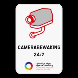 Camerabord Camerabewaking vul aan met je eigen tekst en jouw logo. Camerabord - eigen tekst en logo