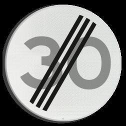 Verkeersbord Einde maximum toegestane snelheid 30 kilometer per uur Verkeersbord RVV A02-30 - Einde maximum snelheid A02-030 snelheidsbord, snelheidbord, km bord, snelheid, einde, km per uur, 30 kilometer per uur, A2, maximumsnelheid, maximum snelheid, maximalesnelheid, maximale snelheid