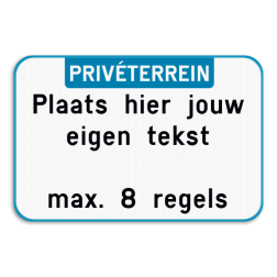 Tekstbord landscape met boventekst - Blauw/wit