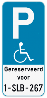 Parkeerbord Parkeerbord E9 mindervaliden gereserveerd + Jouw nummerplaat. Parkeerbord E9 mindervaliden + eigen tekst + Nummerplaat