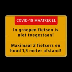 Tekstbord Covid-19 Maatregel - Fietsers houd afstand Fluor geel / gele rand, (RAL 1023 - geel), Hier uw eigen, tekstregels, klik op bewerken >