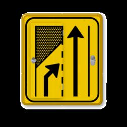 Verkeersbord WIU geel/zwart T32-2l/r - klapbord Tekstbord, WIU bord, tijdelijke verkeersmaatregelen, werk langs de weg, omleidingsborden, tijdelijk bord, werk in uitvoering, 3 regelig bord