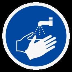 Vloersticker - Handen wassen vloersticker, handen, wassen, verplicht
