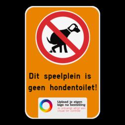 Informatiebord Hondenpoep verbod - Pas het bord zelf aan met jouw eigen tekst en logo van je speelplein of gemeente. Informatiebord - Geen hondentoilet + Logo