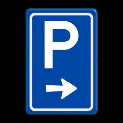 Verkeersbord Ga rechts voor parkeerplaats Verkeersbord RVV BW201r BW201r parkeerplaats, parkeerplek, routebord, bord met pijl, BW201