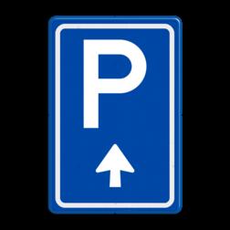 Verkeersbord Ga rechtdoor voor parkeerplaats Verkeersbord RVV BW201b BW201b parkeerplaats, parkeerplek, routebord, bord met pijl, BW201