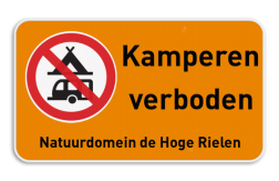Verbodsbord - Kamperen verboden met eigen tekst
