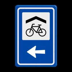 Verkeersbord RVV BW210 - Overdekte Fietsenstalling met aanpasbare pijlrichting fiets, informatie, routebord, bord met pijl, BW210