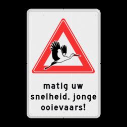 Waarschuwingsbord  - LET OP! Jonge ooievaars ooievaar, geboorte, baby, waarschuwing