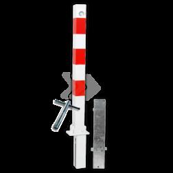 Antiparkeerpaal 70x70mm rood/wit - neerklapbaar en verwijderbaar met grondstuk driekant, sleutel, brandweerpaal, anti-parkeerpaal, parkeren, rood-witte paal, verboden te parkeren, parkeerbeugel, klappaal, klap paal, trottoirpaal, geen parkeerplaats, niet parkeren
