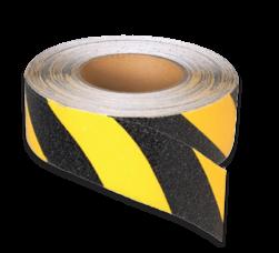 Vloertape rol anti-slip | 50-100mm breed | geel/zwart | lengte 18,3 meter vloertape, vloermarkering, magazijn, geel, zwart, rol