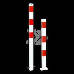 Parkeerpaal 70x70mm rood wit - vast met grondanker of bodemmontage driekant, sleutel, brandweerpaal, parkeren, anti-parkeerpaal, parkeren, rood-witte paal, verboden te parkeren, parkeerbeugel, klappaal, klap paal, trottoirpaal, geen parkeerplaats, niet parkeren