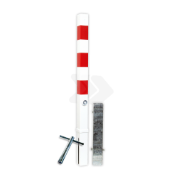 Antiparkeerpaal 70x70mm rood/wit - verwijderbaar met grondstuk driekant, sleutel, brandweerpaal, anti-parkeerpaal, parkeren, rood-witte paal, verboden te parkeren, parkeerbeugel, klappaal, klap paal, trottoirpaal, geen parkeerplaats, niet parkeren