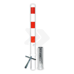 Afzetpaal Ø60-76mm rood wit - uitneembaar met grondstuk anti-parkeerpaal, parkeren, rood-witte paal, verboden te parkeren, parkeerbeugel, klappaal, klap paal, trottoirpaal, geen parkeerplaats, niet parkeren