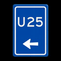 Verkeersbord Uitwijkroute Verkeersbord RVV BW501l - U-bord BW501l parkeerplaats, parkeerplek, routebord, bord met pijl, uitwijkroute, u borden, u-borden