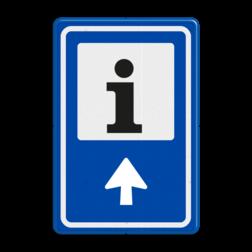Verkeersbord RVV BW101S104 - Informatiepuntverwijzing met aanpasbare pijlrichting fiets, informatie, routebord, bord met pijl, BW210