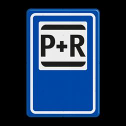 Verkeersbord P+R - Parkeergelegenheid ten behoeve van overstappers op het openbaar vervoer Verkeersbord RVV E12 - Park & Ride E12 Parkeer, Reis, voorziening, Park, Ride, P&R, P+R, parkeervoorziening, halte, station