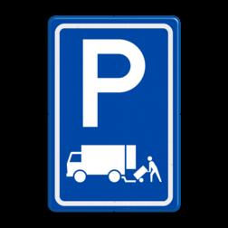 Verkeersbord Parkeerplaats laden en lossen - Gelegenheid voor het onmiddelijk laden en lossen van goederen Parkeergelegenheid alleen bestemd voor voertuigcategorie, of groep voertuigen, die op het bord is aangegeven Verkeersbord RVV E07 - Parkeergelegenheid Laden en lossen E07 vrachtwagens, parkeerbord voor vrachtauto, E7, laad, losplaats, laden en lossen