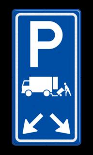 Verkeersbord Parkeerplaats laden en lossen met pijl Gelegenheid voor het onmiddellijk laden en lossen van goederen Verkeersbord RVV E07 met aanpasbare pijlrichting E07, E7, laden en lossen, vrachtauto
