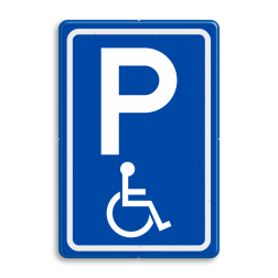 Verkeersbord Parkeerplaats mindervalide - Parkeergelegenheid alleen bestemd voor voertuigcategorie, of groep voertuigen, die op het bord is aangegeven Verkeersbord RVV E06 - Parkeren minder validen invalide parkeerplaats, E6, minder valide, rolstoel, beperkinggehandicapten, invaliden, miva