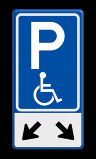 Verkeersbord Parkeerplaats minder valide - Parkeergelegenheid alleen bestemd voor voertuigcategorie, of groep voertuigen, die op het bord is aangegeven Verkeersbord RVV E06 + pictogram - Parkeren minder validen invalideparkeerplaats, E06 ,  pijlen, 2 plaatsen