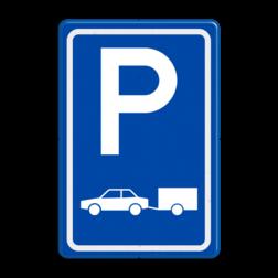 Verkeersbord Parkeerplaats auto's. Parkeergelegenheid alleen bestemd voor voertuigcategorie, of groep voertuigen, die op het bord is aangegeven Verkeersbord E08 - Parkeerplaats auto's met aanhanger E08 parkeerplek, auto, parkeerplaats, E8