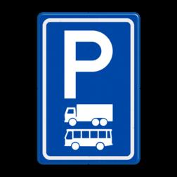 Verkeersbord Parkeerplaats vrachtwagens en bussen. Parkeergelegenheid alleen bestemd voor voertuigcategorie, of groep voertuigen, die op het bord is aangegeven Verkeersbord RVV E08a - Parkeerplaats vrachtwagens en bussen E08a bussen, vrachtwagens, parkeerplek, parkeerplaats, E8, E8a