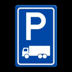 Verkeersbord Parkeerplaats vrachtwagens. Parkeergelegenheid alleen bestemd voor voertuigcategorie, of groep voertuigen, die op het bord is aangegeven Verkeersbord RVV E08c - Parkeerplaats vrachtwagens E08c parkeerplek, parkeerplaats, vrachtwagen, vrachtauto, E8, E8c