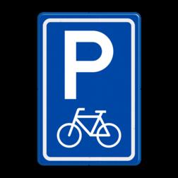 Verkeersbord Parkeerplaats fietsen. Parkeergelegenheid alleen bestemd voor voertuigcategorie, of groep voertuigen, die op het bord is aangegeven Verkeersbord RVV E08f - parkeerplaats fietsers parkeerplek, parkeerplaats, fiets, fietsenstalling, E8, E8f