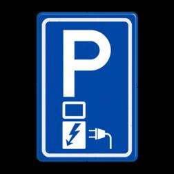 Verkeersbord Parkeerplaats met oplaad punt - Parkeergelegenheid alleen bestemd voor elektrische voertuigen Verkeersbord RVV E08o - Parkeerplaats met oplaadpunt E08o BW101 SP19 - autolaadpunt, autolaadpunt, oplaadpalen, oplaadpaal, BE04, elektrische, BW101, laadpunt, oplaadpunt, laadpaal, oplaadpalen, oplaadbaar