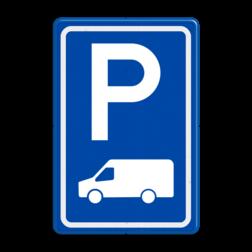 Verkeersbord Parkeerplaats Busje Parkeergelegenheid alleen bestemd voor voertuigcategorie, of groep voertuigen, die op het bord is aangegeven Verkeersbord RVV E08p - parkeerplaats transporter busje E08p