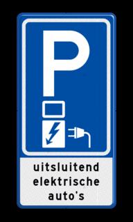 Verkeersbord Parkeerplaats met oplaadpunt voor elektrische auto - Parkeergelegenheid alleen bestemd voor elektrische voertuigen Verkeersbord RVV E08o - Oplaadpunt + tekst - BE04c E08o, oplaadpunt, uitsluitend, elektrische, auto's, laadpaal, parkeren