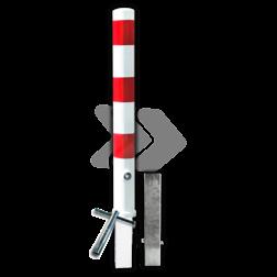 Afzetpaal rond Ø89-108mm rood/wit - uitneembaar met grondstuk anti-parkeerpaal, parkeren, rood-witte paal, verboden te parkeren, parkeerbeugel, klappaal, klap paal, trottoirpaal, geen parkeerplaats, niet parkeren, afzetpaal